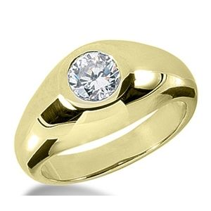 1.00 Carat Grand Blanc Diamant Bague 14K Or jaune